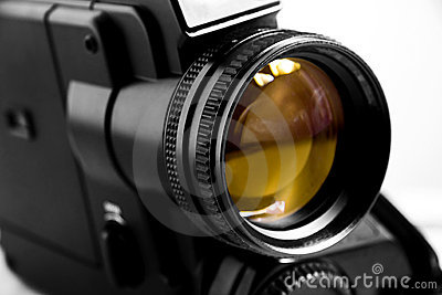 Old black super 8 video camera