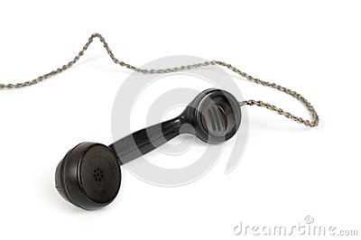 Old black telephone receiver
