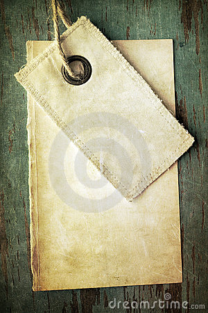 Old blank tag and paper