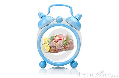Old blue alarm clock