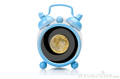 Old blue alarm clock concept