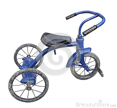 Old blue child s tricycle isolated.