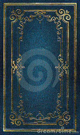 Old blue leather texture gold frame