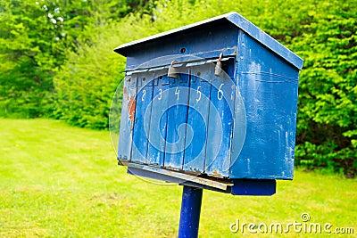 Old blue mailbox