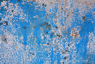 Old blue painted wall background