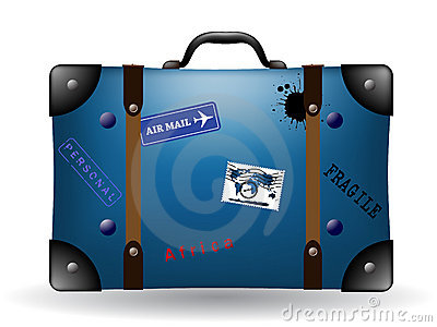 Old blue travel suitcase illustration