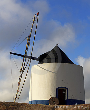 Old blue and white windmill