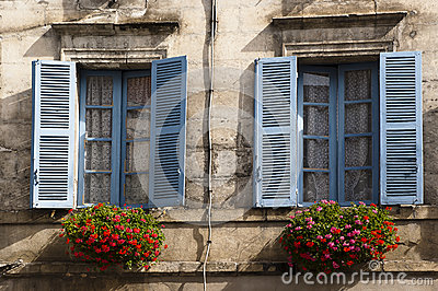 Old blue windows Brantome France