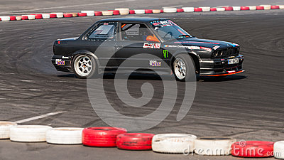 Old BMW drift car at championship Editorial Stock Image