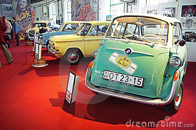 Old BMW Isetta on red stage Editorial Stock Photo