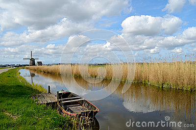 Old boat in a ditch in Holland