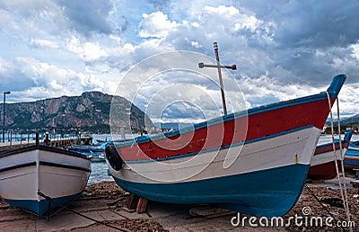 Old boat at Mondello beach in Palermo