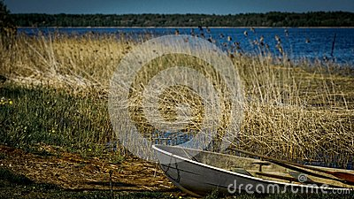 Old boat with oars layng on a lake shore