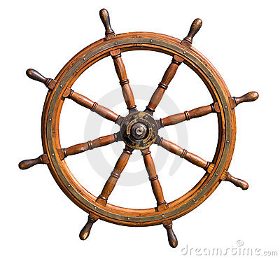 Old boat steering wheel cutout
