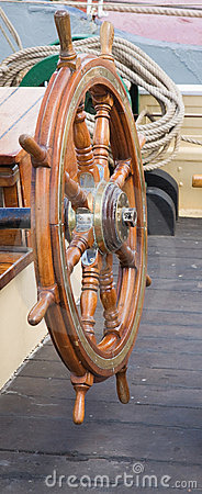 Old boat stirring wheel