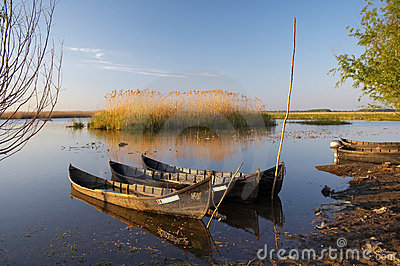 Old boats at danube delta