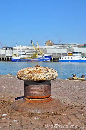 An old bollard on a wharf