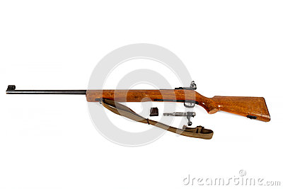 Old bolt action rifle isolated