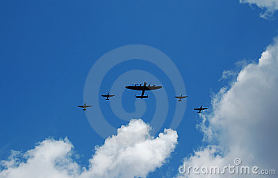Old bomber and fighter planes