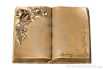 Isolated Old bronze book opened at the middle (just add your ...