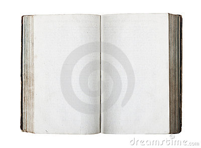Old book with blank pages isolated