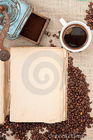 Old book with coffee