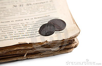 Old book and coins