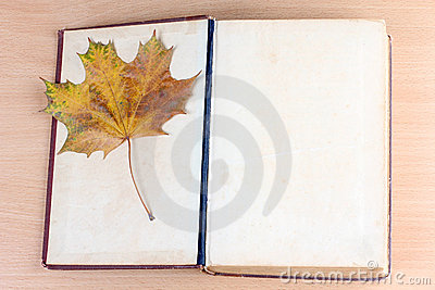 Old book and maple leaf