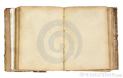 Old book open isolated on white