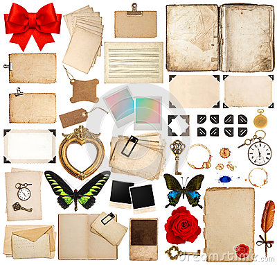 Free Old Book Pages, Paper Sheets, Corner And Photo Frames Stock Images - 45199434
