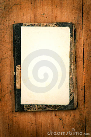 Old book with white paper as background