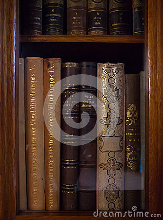Old books in a old library