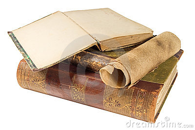 Old books and paper scroll