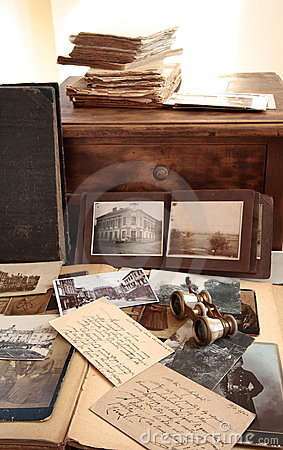 Old books,photos and correspondence