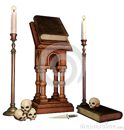 Old books, skulls and candles