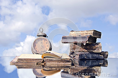 Old Books And Vintage Clock On Mirror Stock Photo - Image: 41824654