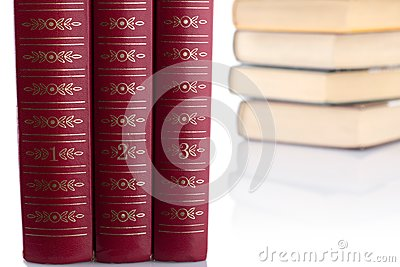 Old books on white background. Isolated.