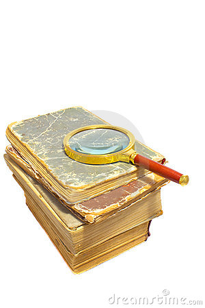 Free Old Books With Magnifier Stock Image - 21973621