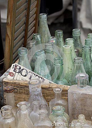 Old bottles in crate