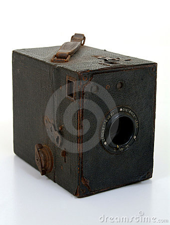 Old Box Camera In Brown Lwather Case
