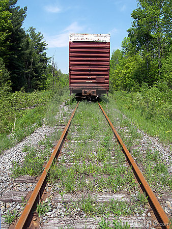 Free Old Boxcar On Tracks Royalty Free Stock Photo - 1103455