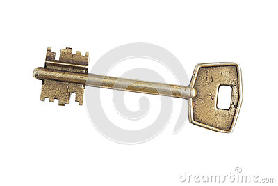 Old brass key. Stock Photo