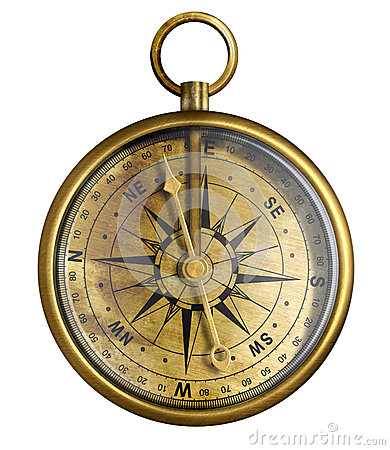 Free Old Brass Or Antique Bronze Compass Isolated Royalty Free Stock Photos - 28171318
