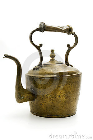 Free Old Brass Teapot Royalty Free Stock Image - 12633356