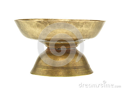 Old brass tray with pedestal