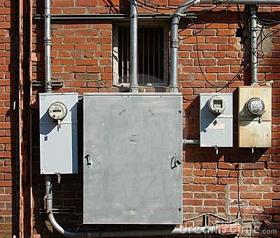 Old brick building and electrical meters