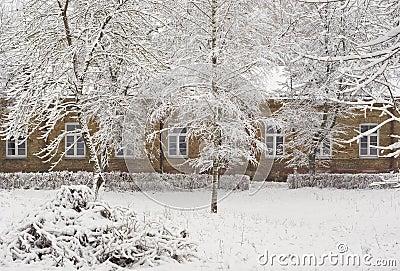 Old brick mansion in Winter season