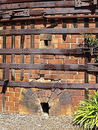 Old brick and metal kiln