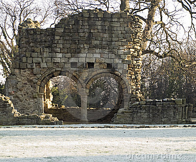 Old Brick Monastary Ruin in Snow