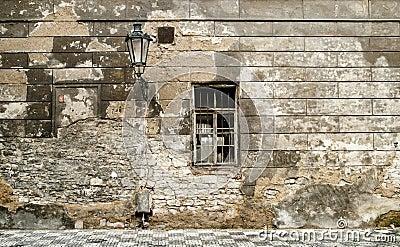 Old brick ruin wall in prague.
